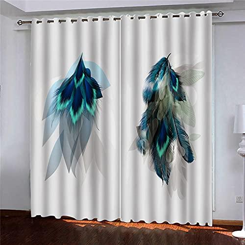 GDYRBY Cortinas Opacas 2 Piezas Salon - Patrón De Plumas De Pavo Real Azul De Impresión Cortinas Habitacion Juvenil...