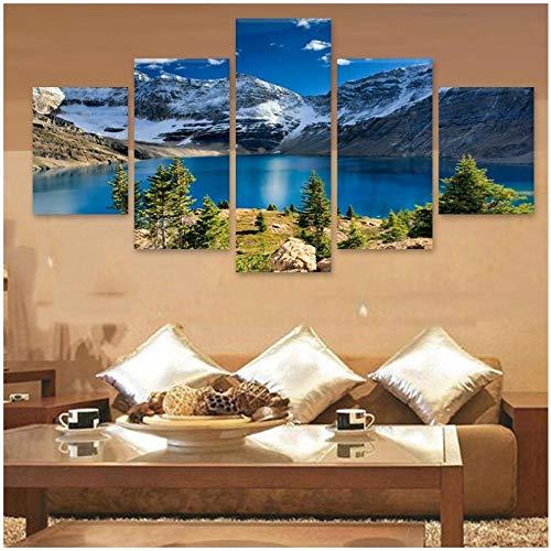 KDSMFA Fotos de pared para decoración del hogar, marco de póster de sala de estar, 5 piezas, pegatinas en las escaleras, montañas nevadas de la-40 x 60 40 x 80 cm, sin marco