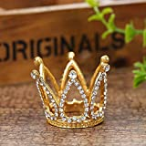 Mini Infant Crown Baby Princess Tiara Cake Topper Crystal Rhinestone Small Gold Cupcake Crown for Newborn Photo Prop Royal Prince Themed Birthday Wedding Christmas Party Decorations