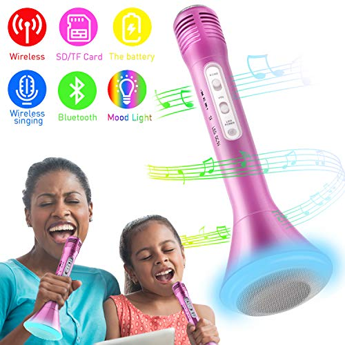 Image of the Tencoz Kids Microphone, Wireless Bluetooth Karaoke Microphone with Controllable LED Lights, Portable Handheld Karaoke Speaker Machine Gift Birthday Home Party for 4+ Years Old Teens Girl Boys
