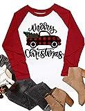 Merry Christmas Plaid Truck Tree Shirt Top Womens Raglan Sleeve Baseball T Shirt Red