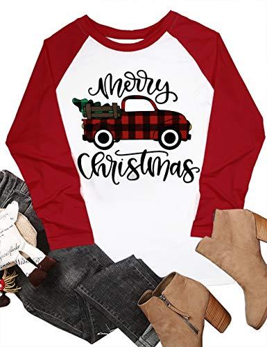 Merry Christmas Baseball T Shirts Women Christmas Long Sleeve Raglan Shirt Christmas Plaid Truck Tree Graphic Splicing Top Size XL (Red)