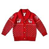YuanDian Bebe Niños Niñas Navidad Tejido De Punto Cárdigan Ciervo Impresión 100% Algodón Botón Frente Abierto Suéter Infantil Disfraces Ropa Navideña Rebecas de Punto 70-110cm Rojo 2A