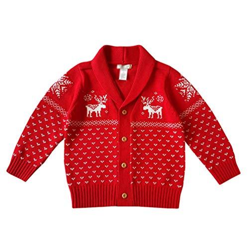 YuanDian Bebe Niños Niñas Navidad Tejido De Punto Cárdigan Ciervo Impresión 100% Algodón Botón Frente Abierto Suéter Infantil Disfraces Ropa Navideña Rebecas de Punto 70-110cm