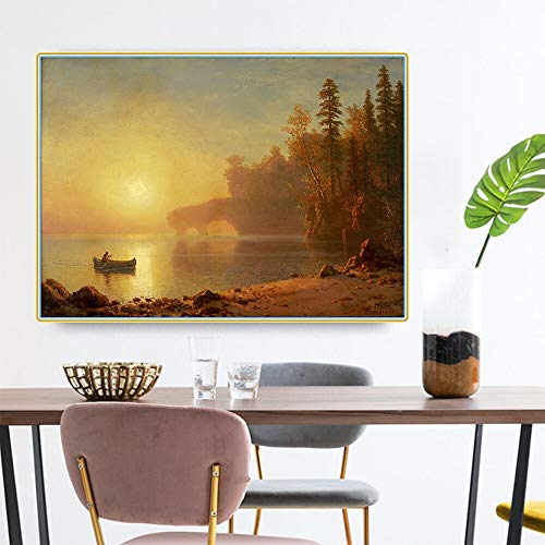 SIRIUSART Albert Bierstadt 《Indian Canoe》 Lienzo Pintura al óleo Obra de Arte Impresiones Imagen Decoración de la Pared Decoración Moderna de la Sala de Estar del hogar (80x120cm) 32'X47 sin Marco
