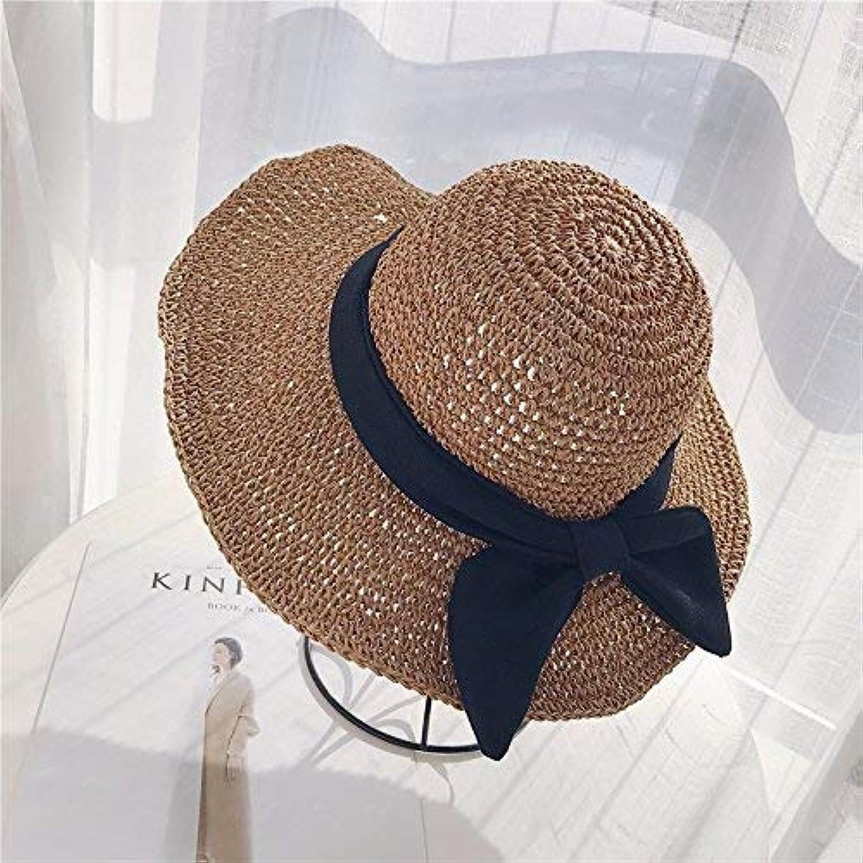 GHANDG Beach Hat Ladies Summer Sun Hat Foldable Beach Straw hat Outdoor Summer Sun Hat
