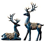 MAYIAHO Statues for Home Decor Figurines Sculptures Modern 11.4' Large Deer Decorations Center Table Living Room Resin 2pcs Big Shelf Accents Bookshelf Fireplace Items Christmas Reindeer Blue Unique