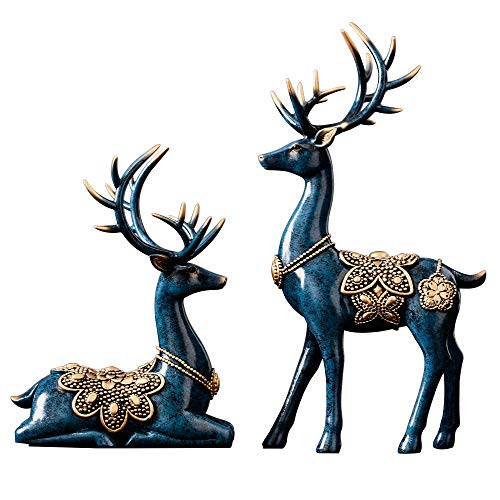 MAYIAHO Reindeer Ornaments for Living Room, Stag Sculptures Modern Home Decorations Items Accessoriess Christmas, Deer Statue Figurine Abstract Blue Desk Bathroom Bedroom Shelf Large House.