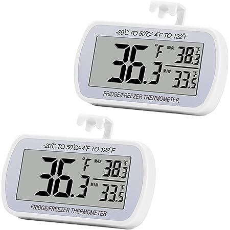 Luntus Refrigerator thermometer Digital LCD thermometer with 2M External Probe for Fridge Freezer Refrigerator aquarium 6Pcs