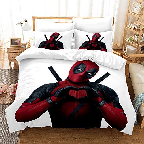YOMOCO The Avengers Bettbezug Bettwäsche Set - Bettbezug und Kissenbezug,Mikrofaser,3D Digital Print dreiteiliger Bettwäsche (Deadpool,Single 135x200cm)