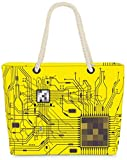 VOID Bolso de Playa XXL Bolsa Shopper CPU Computadora 58 x 38 x 16 cm 23 l Beach Bag Robots, Kissen Farbe:Amarillo