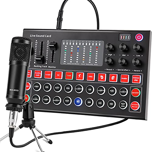 Audio Interface, ALPOWL Sound Card and DJ Mixer for Live Streaming, Guitar, YouTube, Recording and Gaming, Condenser Mirophone Bundle for Family, Friends, Outdoor/Indoor, Large Gatherings