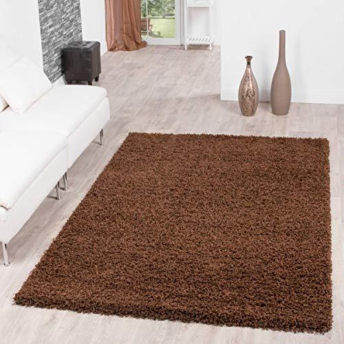 T&T Design Shaggy Teppich Hochflor Langflor Teppiche Wohnzimmer Preishammer versch. Farben, Größe:120x170 cm, Farbe:braun