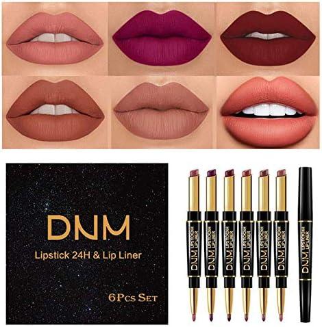 Yelna 6Pcs Set Makeup Matte Lipstick Set Lip Kit Double Head Matte Lipstick 24H with Lip Liner product image