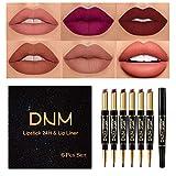 Yelna 6Pcs/Set Makeup Matte Lipstick Set Lip Kit, Double Head Matte Lipstick 24H with Lip Liner 2 in 1 Waterproof Long Lasting Lipstick Durable Nude Velvet Double-end Lipstick Pen Pencil Gift Kit