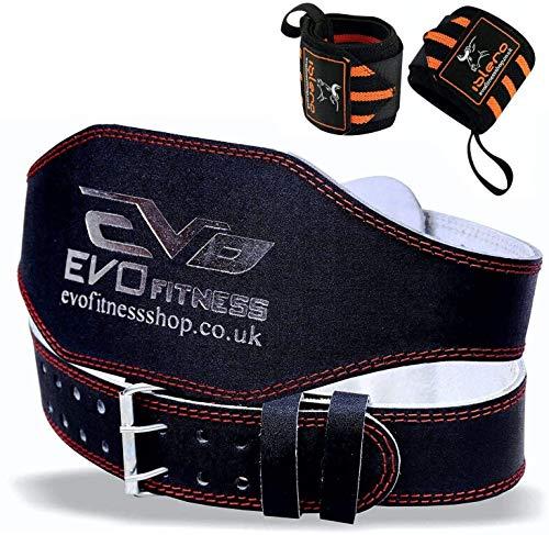 EVO Fitness 10.2cm Vera Pelle Palestra Cinture Sollevamento Pesi Fascia Supporto Schiena Avvolgenti per Bodybuilding - Nero, Small