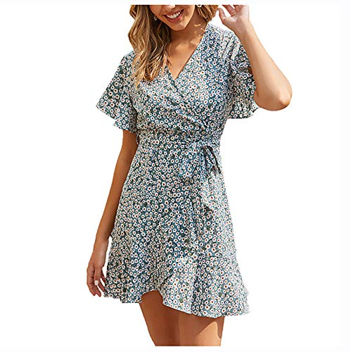 AMhomely Women Dresses Promotion Sale Clearance Ladies's Dress Printing V-Neck Fashion Short Sleeve Draped Splicing Dress Party Eleagant Dress UK Size S-3XL