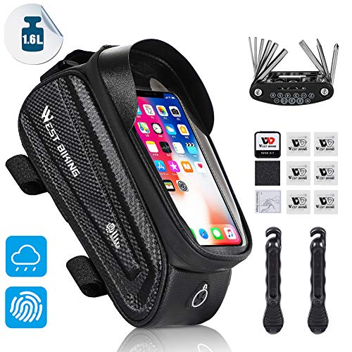 WESTLIGHT Top Tube Bike Bag, Waterproof Bike Pouch, Road Mountain Bike Accessories, Bicycle Frame Bag Phone Holder, Touch Screen Holder Case for iPhone/Samsung Cell Phones Under 7.0'' (Black+Tool)