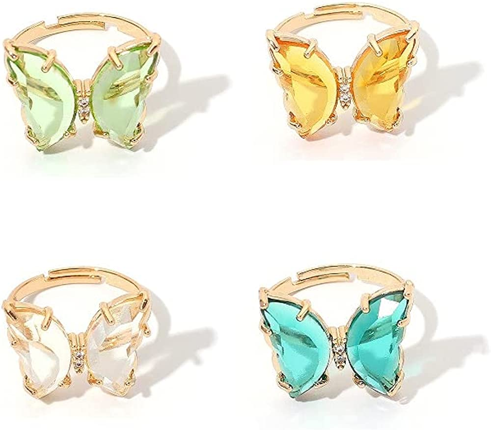 Butterfly Acrylic Crystal Rings Open Adjustable Simple Banquet Wedding Finger Rings Colorful Vintage Cute Rings Jewelry for Girl Women Teens