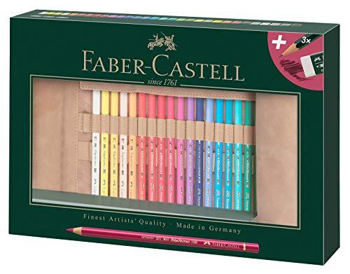 Faber-Castell 110030 Polychromo Farbstift Polychromos, 30er Set mit Stifterolle aus Leder und Zubehör, wasserfest, bruchsicher, für Profis und Hobbykünstler, bunt
