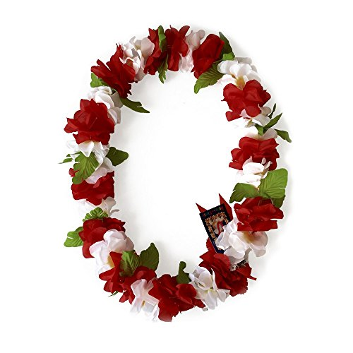 Hawaii Luau Party Artificial Fabric Royal Lei Red White