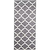 Carpeto Rugs Teppich Läufer Flur - Orientalisch Teppichläufer - Kurzflor, Weich - Flurläufer für Wohnzimmer, Schlafzimmer - Teppiche - Meterware - Grau - 70 x 150 cm