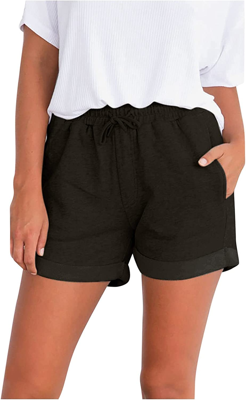 KEJINKCSEE Women's Brand sold out Cheap Sale Venue Casual Shorts Solid Waist Sport Color Elastic