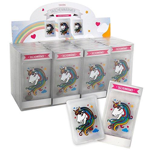 Annastore Taschenwärmer mit süßen Motiven Rentier - Pirat - Elf - Katze - Feuerwehrmann - Glücksschwein - Pinguin - Smiley - Einhorn (Einhorn, 4 Stück)