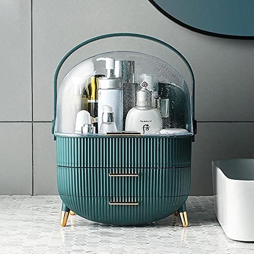Organizador de maquillaje Caja de almacenamiento de cosméticos de gran capacidad con cajón Rangement Maquillage Estuche de maquillaje portátil para encimera de baño-Oro rosa