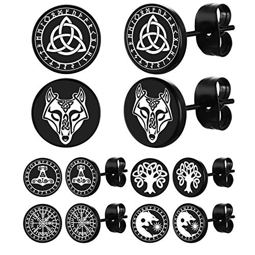 FaithHeart Norse Viking Stud Earrings for Men Black Women Dot Stud Earring Set Viking Compass/Thor's Hammer/Sun Moon Wolf/Celtic Knot/Celtic Wolf Head/Tree of Life Charms