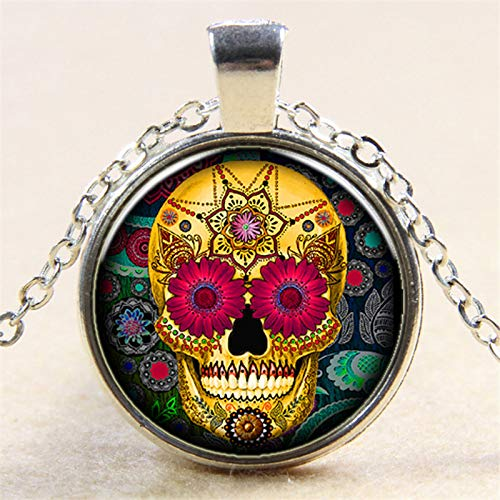 Candy-Color tatuaje cráneo cadena colgante de cristal joyería regalo para mujeres hombres