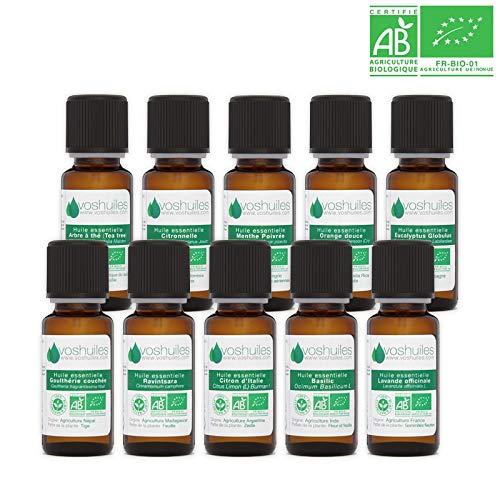 Kit Indispensables BIO 10 Huiles Essentielles - 100% Pure et Naturelle - HEBBD, Ecocert - Tee Trea, Citronnelle, Eucalyptus Globulus, Lavande, Ravintsara, Basilic, etc - 10x10ml Parfums - VOSHUILES