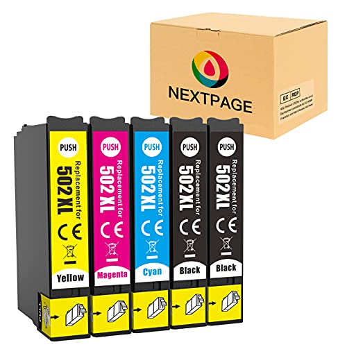 NEXTPAGE 502XL - Cartuchos de tinta para Epson Workforce WF-2860DWF WF-2865DWF, Expression Home XP-5100 XP-5105 (2 negro, 1 cian, 1 magenta y 1 amarillo)