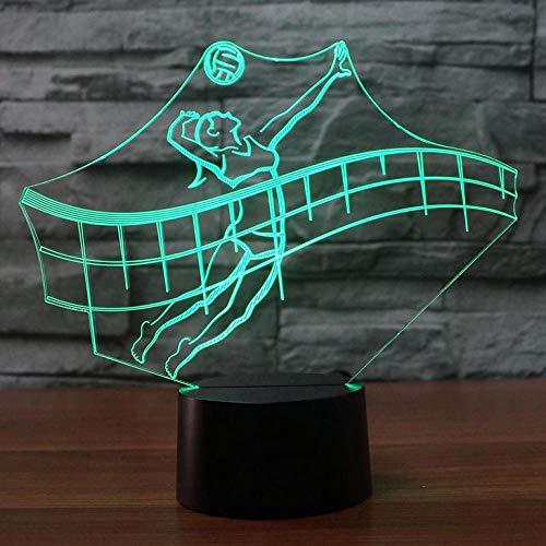 Voleibol 3D luz de la noche, 7 colores cambiantes interruptor táctil control remoto LED lámpara de mesa de escritorio, para niños regalo luces decoración del hogar luz nocturna