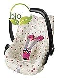 ByBoom® - Funda de verano/funda hecha de 100% algodón orgánico, funda universal para portabebés (Moisés), asiento de coche, por ejemplo, Maxi-Cosi, Color:Natural - Estrellas Fucsia