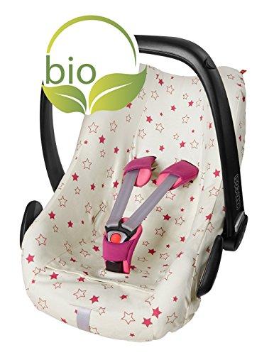 byboom–Funda de verano, colchón para bebé Cuenco de 100% de algodón ecológico con diseño, universal para por ejemplo maxi-cosi, cabriofix, Pebble, City SPS, color: natural–Estrellas Color Fucsia