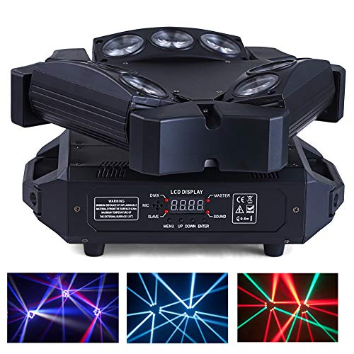 HSL Moving Head DJ lights Beam Light RGB DJ Stage Light DMX512 Sound Activated Disco Party Pub Wedding Christmas Stage Lighting DJ Equipment