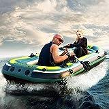MINGJ Kayak Hinchable 2, Balsa Inflable para 3 Personas para Adultos y Niños, Balsa de Goma de PVC Engrosada con Hélice y Bomba de Coche,3person2.3M