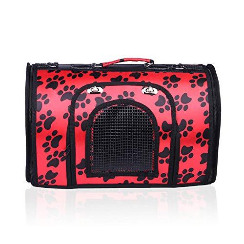 Haijiao Forniture voor huisdieren, luchtdoorlatende zakken voor uso, uso, reistas voor honden en katten, M, Red footprint