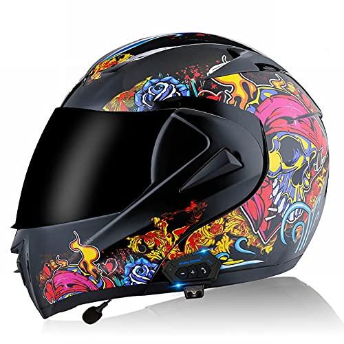 Bluetooth Cascos Flip Up Motocicleta para Adultos Hombres Mujeres con Doble Vise Casco de Motocicleta Multifuncional Casco DOT/ECE Certificado A,L=59~60CM