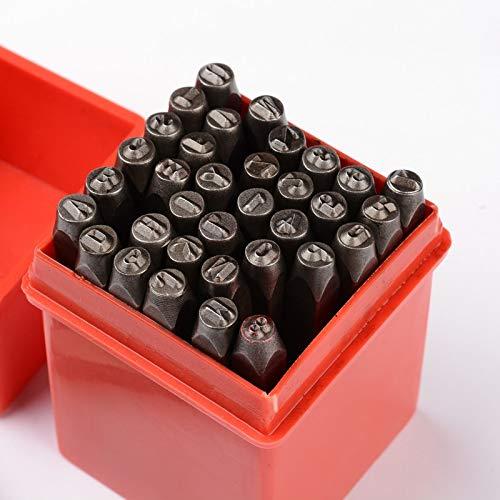 Beadthoven 36 punzones de hierro, letras del alfabeto A-Z/número 0-9, sellos de sellos para joyas, cuero, estampado de madera, bricolaje, joyería, 6 mm, color negro