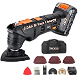 TACKLIFE Oscillating Tool, 20V Max Cordless Multifunctional Tool, 2.0Ah Lithium-Ion Battery, 1 Hour Fast Charge, 6 Variable Speed for Grout Removing, Scraping, Cutting and Polishing - PMT03B