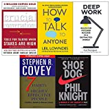 Crucial Conversations, How to Talk to Anyone, Deep Work, Shoe Dog, 7 Habits of Highly Effective People 5 Books Collection Set