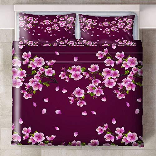 Wbfgg Bedding Schöne Pfirsichblüte 180X220Cm Bettwäsche Set,Bettbezüge,3D Bettwäsche,Kissenbezug Baumwolle