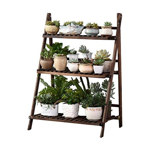 3 niveaux étagés en bois pliable fleurs Stand jardin patio balcon plante debout fleur pot Rack décoratif présentoir porte-pot de fleur étagère - intérieur / extérieur - brun foncé - 70 x40x97cm