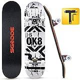 SGODDE Skateboard 31x8 Zoll Komplettboard 80x20cm Holzboard mit...