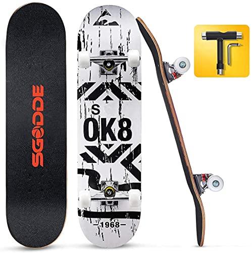 SGODDE Skateboard 31x8 Zoll Komplettboard 80x20cm Holzboard mit ABEC-7 Kugellager für Anfänger,7-lagigem Kanadischer Ahorn Double Kick 95A Rollen für Kinder, Jugendliche und Erwachsene,T-Tool
