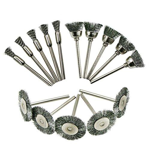 UKCOCO Wire Wheel Brush Set - 15Pcs Steel Cup Brush Abrasive Polishing Set...