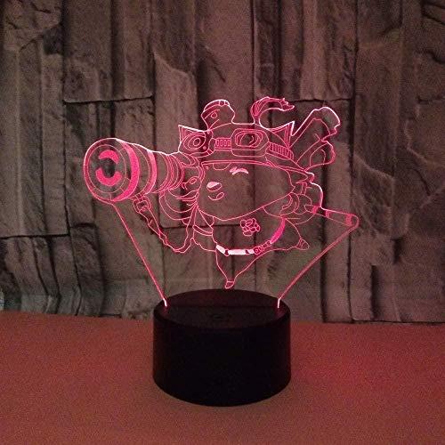 Lámpara de ilusión 3D Gráficos de telescopio Night Light Los mejores regalos para niños, familiares, amigos, cumpleaños y San Valentín 7 colores USB Night light(control remoto)