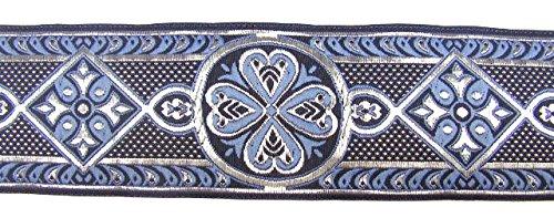 10m keltische Borte Webband 35mm breit Farbe: Blau-Silber präsentiert von 1A-Kurzwaren 35004-blsi